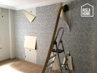 Insuflado de aislante en pared empapelada